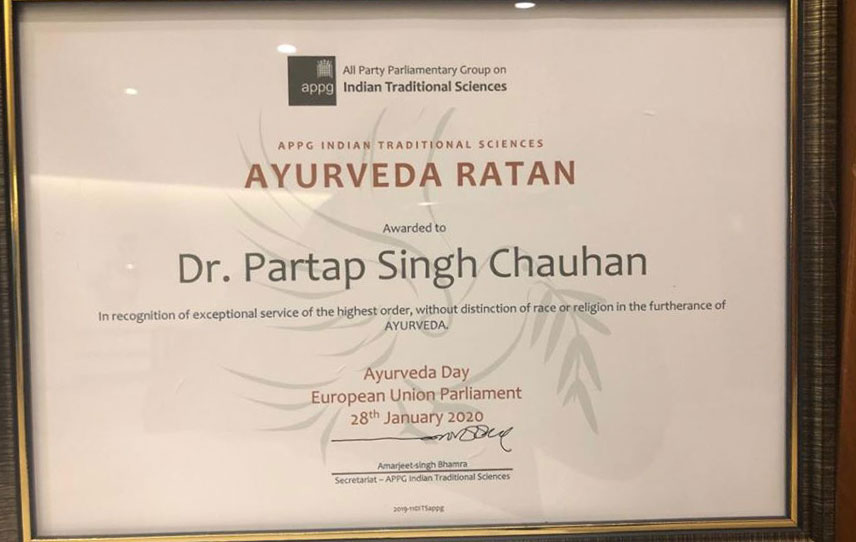 Dr Chauhan conferred with prestigious Ayurveda Ratan Award in Brussels